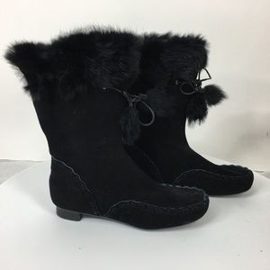 Nine West Size 7.5M Black Suede Ankle Boots
